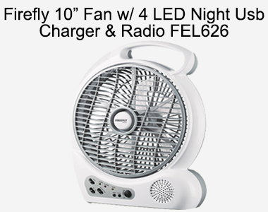 Firefly 10 Fan with 4 LED Night Usb Charger & Radio FEL626